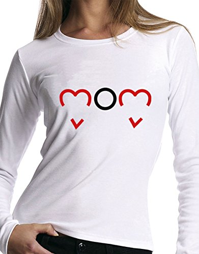 t-shirt manica lunga festa della Mamma - Mom, cuori, love - S M L XL XXL uomo donna bambino maglietta by tshirteria