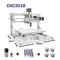 CNC Engraving Machine, Working Area: 300*180*45mm, 3 Axis Mini GRBL Control CNC Router Kit PCB Acrylic Wood Carving Milling Engraver Machine + ER11 Extension Rod + 10pcs CNC Bits + 4Sets CNC Plates