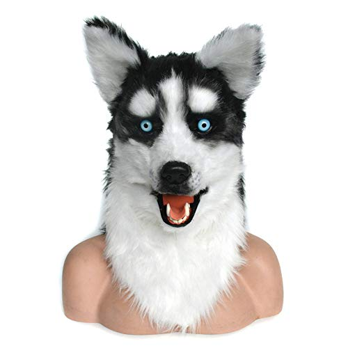 Kostüm Husky Tragen - KX-QIN Halloween Handmade Husky Rollenspiel Maske Deluxe Neuheit Halloween Kostüm Party Latex Tierkopf Maske for Erwachsene und Kinder (Color : Brown)