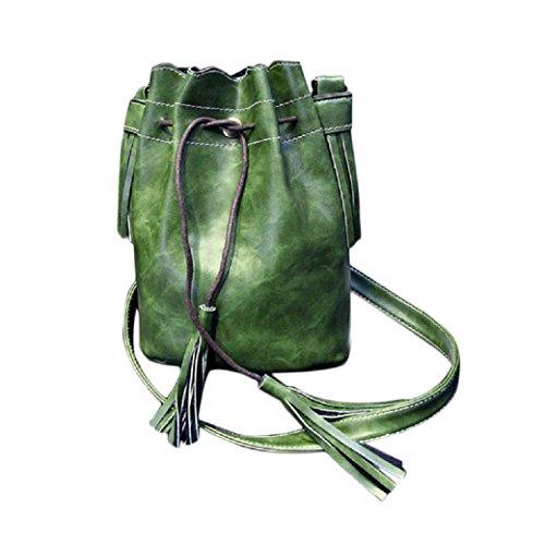 Preisvergleich Produktbild WOCACHI Neue Damen Frauen Handtasche Umhängetasche Quaste Bote Hobobeutel Geldbeutel Schulranzen (Grün)