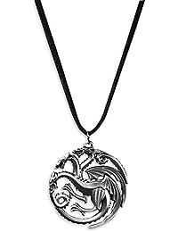 Game of Thrones Leder-Halskette mit Targaryen Logo Anhänger