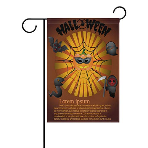 LINDATOP Halloween-Poster, Gartenflagge, 30,5 x 45,7 cm, doppelseitig, Hof-Dekoration, Polyester, Outddor-Flagge, Home Party, Polyester, Multi, 12x18(in)