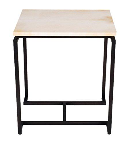 Amaris Elements | Table Basse 'Burton' en Cuir de chèvre, Beige/crème et Gris, 48 x 40 x 57,5