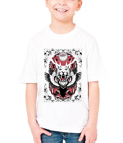 Three Monkeys Animal Mix Animals Collection Boys Classic Crew Neck T-Shirt Bianco Large