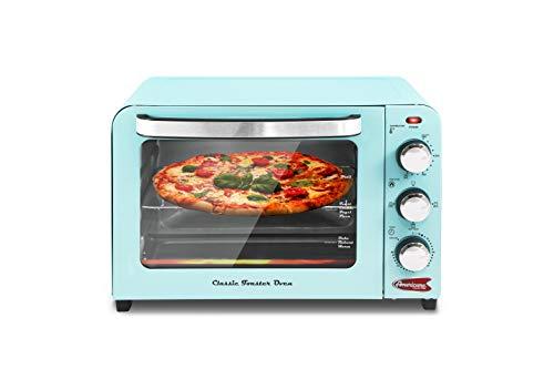 Maxi Matic ERO-2600XBL Retro-Toaster, einfach zwischen den 4 Ofenfunktionsreglern zu wechseln: Broil, Bake, Toast und Reheat, 6 Scheiben, 26 l, Blau