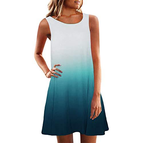 LUGOW Minikleid Strandkleid Damen Sommerkleider Günstig Farbverlauf Anpassen FreizeitKleider Schlinge PartyBallkleid Abendkleider BlusenkleidCocktailkleider(Large,Blau B)