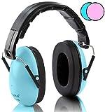 NENI Kinder Gehörschutz in Blau Oder Pink - Premium Kapselgehörschutz von 1 bis 16 Jahre - mitwachsende und Verstellbare Ohrenschützer inkl. Reinigungstuch