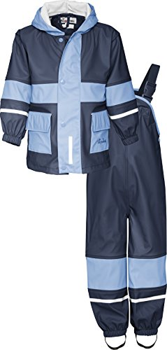 Playshoes Regen-Anzug 408699 Unisex - Kinder Regenmntel, Gr. 128 Blau (marine/ hellblau 639)