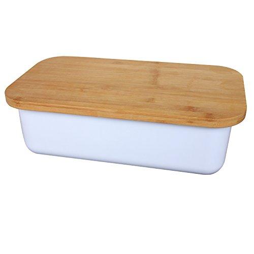 Geräumige Brotkasten aus Melamin mit Bambusdeckel als Schneiderbrett Maße 38x22x12cm in Farbe weiß