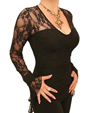 Blue Banana - Black Lace Bell Cuff Clingy Top Size 10
