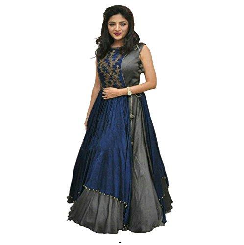 JIYAN FASHION Banglori Silk Embroider Blue Clour Semi-Stiched Free Size indo western...