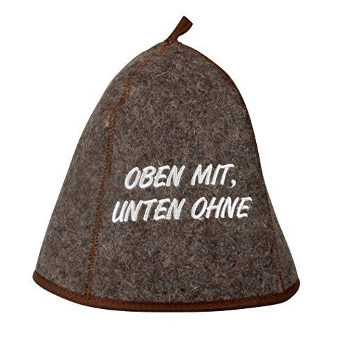 Saunahut OBEN MIT UNTEN OHNE Saunakappe Saunamütze Sauna Filz Kappe Lustige Hüte