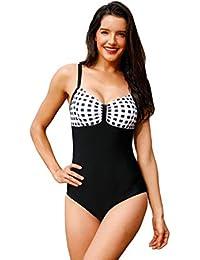 1687cf2da065e VENMO Women Plus Size One Piece Push Up Monokini Check Print Tummy Control  Swimwear Ladies Full