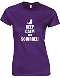 Brand88 - Keep Calm And Squirrel!, Ladies Printed T-Shirt