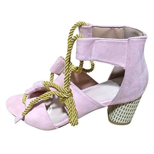 ZahuihuiM Rome Chaussures à Talons Hauts pour Les Femmes Chaussures de Bandage d'été Corde de Chanvre Sangle Cheville à Bout Ouvert Sandales Chaussures de soirée