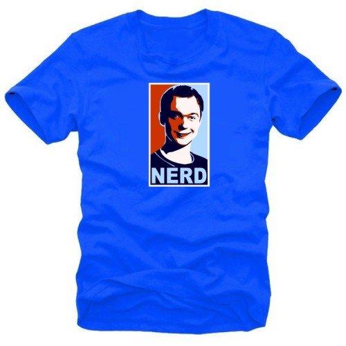 NERD clear coole t-shirt big bang theory Bleu xxl