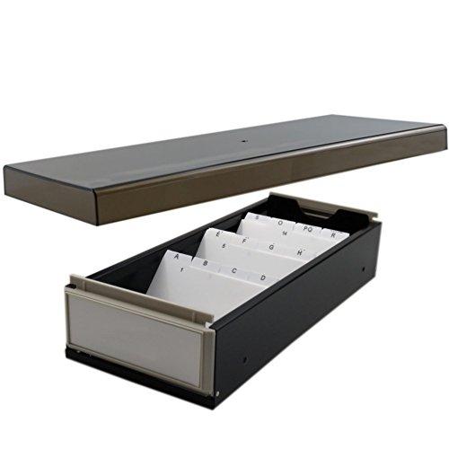 sfqmt Desktop Visitenkartenhalter Box Organizer mit Trennfächern und Index Reiter für 800Karten schwarz