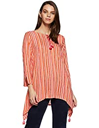 global desi Women's Striped Regular Fit Top (EC18G237TPRYCORALM_Coral_M)