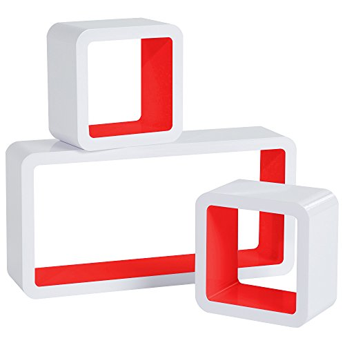 Woltu rg9229rt-b set 3 mensole muro scaffale parete libreria cd legno mdf cubo moderno diametro diversi bianco rosso