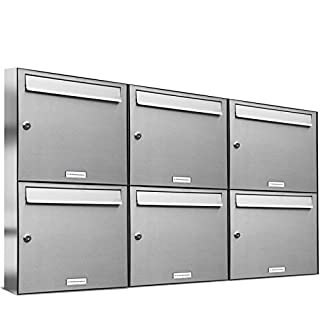 AL Briefkastensysteme 6er Briefkastenanlage Edelstahl, Premium Briefkasten DIN A4, 6 Fach Postkasten modern Aufputz