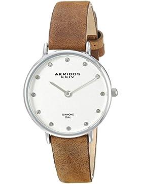 Akribos XXIV Damen Quarzuhr mit Silber Zifferblatt Analog-Anzeige und braunem Lederband ak882ssbr