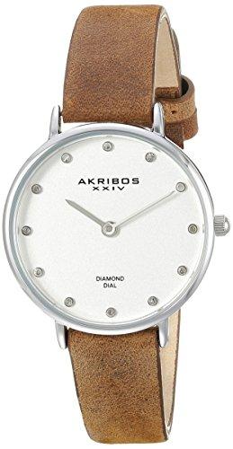 Akribos XXIV Reloj de Plateada para Mujer con marcadores de Diamante
