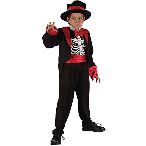 Halloween Kinder Jungen Smart Skeleton Kostüm Alter 4-12 Jahre (Medium (Age 7-9 Years), Schwarz)