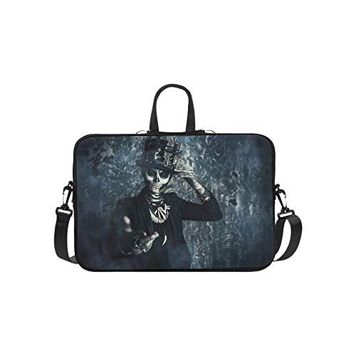 Nahaufnahme-Porträt-Mann-Schädel-Make-up gekleidete Aktenkoffer-Laptoptasche-Kurier-Schulter-Arbeitstasche Crossbody-Handtasche für das Geschäftsreisen