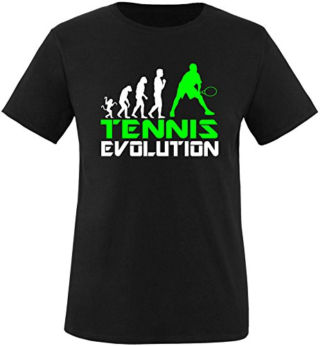 EZYshirt® Tennis Evolution Herren Rundhals T-Shirt Schwarz/Weiss/Neongr