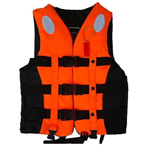 ZJchao Kinder und Erwachsene Schwimmweste Rettungsweste Gr. S/M/L/XL/XXL 10-110Kg (Orange, S)