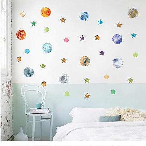 e Solar System Wandaufkleber Schlafzimmer Dekoration Zubehör Sterne Mond DIY Decor Wandtattoo PVC Kunst Poster ()
