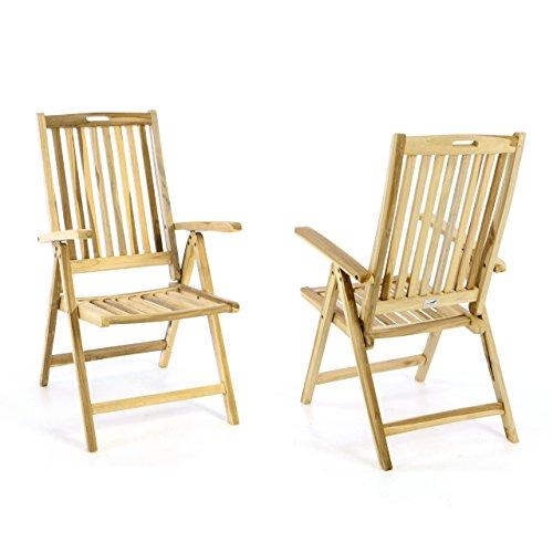 Divero 2er Set Stuhl Gartenstuhl Terrassenstuhl Klappstuhl aus Teak-Holz Hochlehner mit Armlehnen...