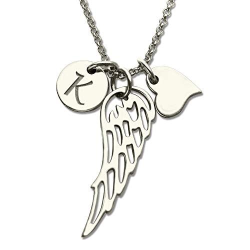 Persönalisierte Silber Halskette Frauen Benutzerdefinierte Initial Halskette Kostüm Brief Engel Flügel Halsketten Sterling Silber Liebe Herz Flügel Charme Kette Initial Schmuck (Silber ()