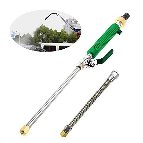 Womdee - Lancia ad Acqua ad Alta Pressione con Tubo a Molla Estraibile, 2 ugelli Spray, Collegamento Tubo da Giardino per Lavaggio Auto e Pulizia Finestra Verde