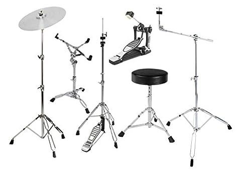 XDrum HP-Semi5S Hardware Pack (6-teilig, Galgenbeckenständer, gerader Beckenständer, Snareständer, Single Fußmaschine, HiHat-Maschine, (Cymbal Stand Pack)