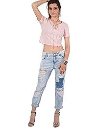 PILOT® recadrée taille haute déchiré et un jean patch maman