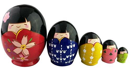 Juego de 5pcs adorable japonesa muñecas Kokeshi Kimono Girl Forma de huevo Glazed Nesting muñeca Kimmidoll japonés regalo adorno de muñeca japonesa