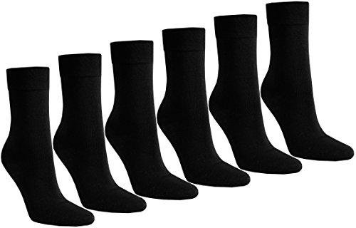 6 PAAR Damen Luxus-Socken Strümpfe Söckchen ohne Gummi Baumwolle mit Elasthan, Schwarz, 39 - 42