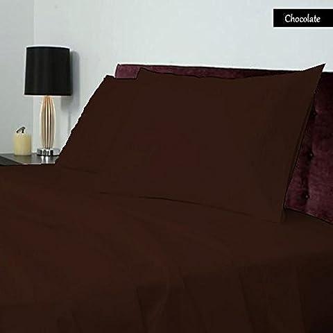 Cotone egiziano 100%, 600TC 1pezzo Lenzuolo con angoli 40cm, Extra profondi Pocket UK Super King Size Color Cioccolato Solid Pattern