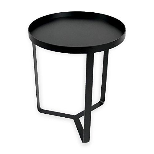 TOUPATOU-posato, Coffee Table en Fer Noir, Jambes entrelacées pour Indoor et Outdoor. avec Plateau en Bois Amovible Bleu pétrole cm 42 x h 50