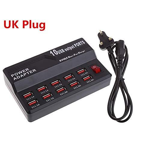 10 Ports USB Hub Schnellladestation Wand Reise Desktop Ladegerät Netzteil Hub EU/UK/US Stecker Hohe Qaulity C26 (Color : UK Plug) -