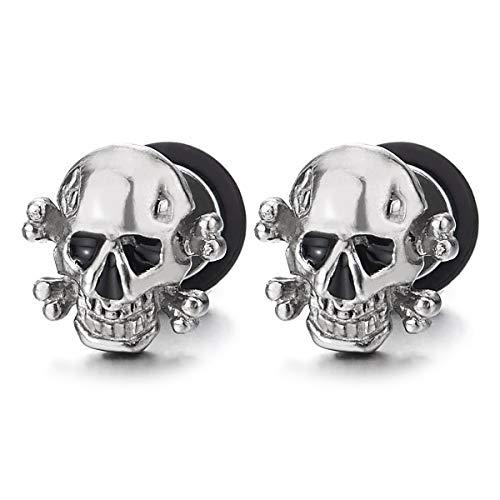 24ab4cc27e1e Hombres Muchachos Niños Pirata Cráneo Pendientes con Esmalte Negro