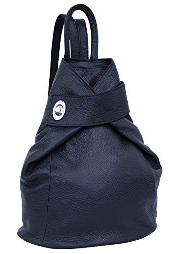 AMBRA Moda Leder Rucksack, Damen tasche, Handtasche, Schultertasche GL014 (Marineblau)