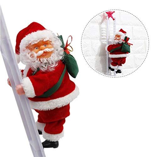 lingzhuo-shop Elektrische Weihnachtsmann Kletter Kletternder Weihnachtsmann Innen Elektrisch Auf Leiter Santa Crawl Innovatives Plüschpuppenspielzeug für Weihnachten Party Wand Dekoration 20x9x12.5CM