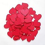edelkern Holz Streuteile XXL - 50 x Rote Herzen (50 x große Herz Teile) - Schöne Dekoration (Deko) zum Basteln (DIY)