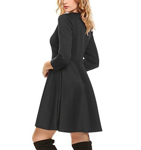 Damen 50er Vintage Rockability Kleid Cocktailkleid Herbst Langarm A Linie Swing Kleid mit Stretch Einfarbig H-Schwarz