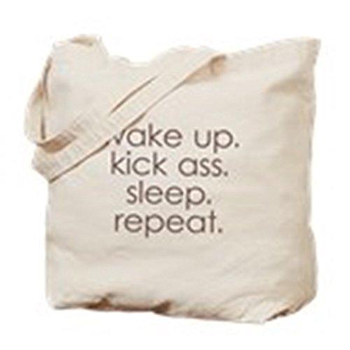 CafePress-Svegliati Kick Ass sonno-Borsa di tela naturale, panno borsa per la spesa