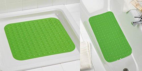 WENKO Wannen-und Duscheinlagen-Set Tropic Green - Duschmatte grün - Duscheinlage - Badewanneneinlage - Badteppich - Badematte - Wanneneinlage