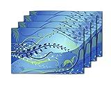 meSleep Blaue Tischsets PVC Vinyl Küche Dekor Set 4 Stück Geschirr Tischsets Abendessen Tisch Matten 11