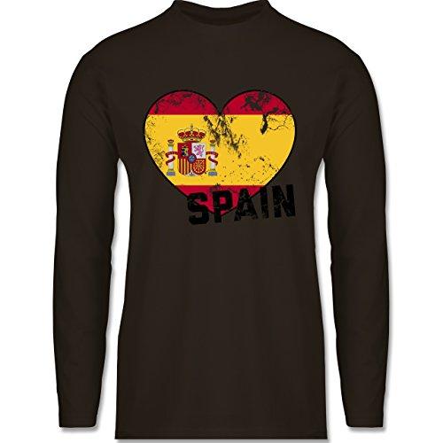 Shirtracer Fußball-WM 2018 - Russland - Spain Herz Vintage - Herren Langarmshirt Braun